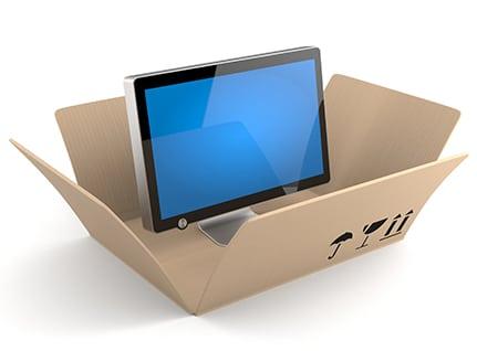 Screen in a shipping box